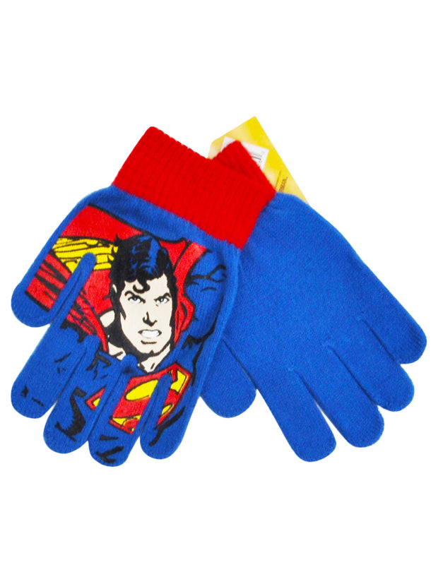 Boys Superman Superhero Gloves Mittens Blue 1-PAIR