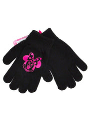 Girls Minnie Mouse Knit Red Beanie Hat & Gloves Mittens (2-Piece)