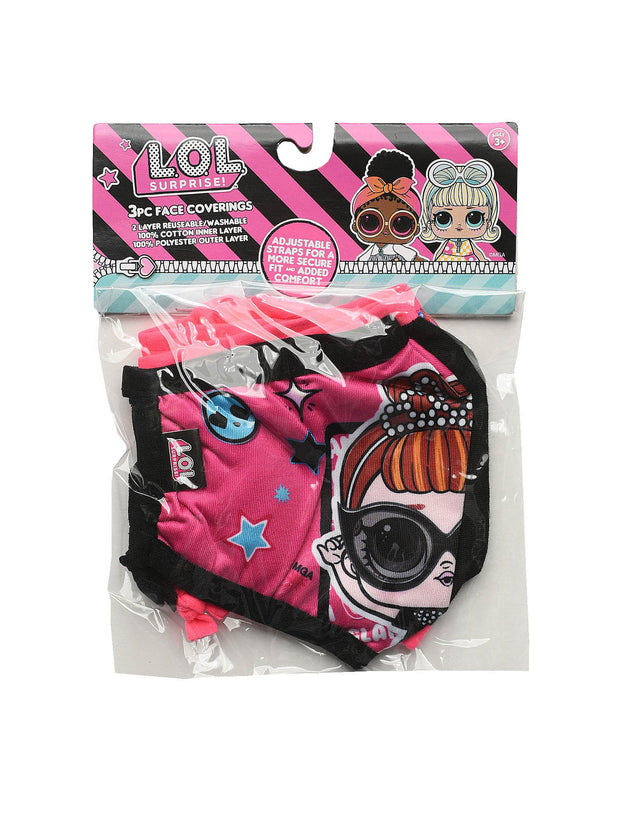 Kids Girls LOL Surprise 4 Pack Reusable Face Masks Queen Rocker w/ Pink Strap