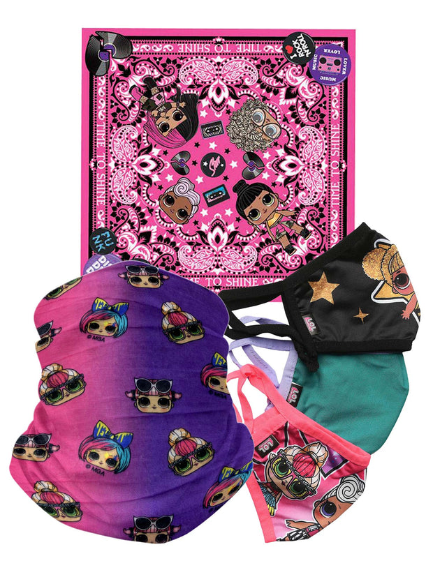 Girls Kids LOL Surprise Reusable Face Masks Covers Bandanas OMG 5 Piece Set