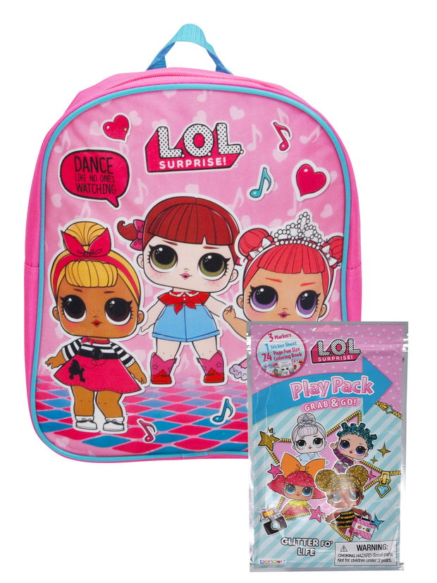 "Girls Lol Surprise 12"" Mini Backpack Dance & Grab-n-Go Play Pack Markers Crayon"