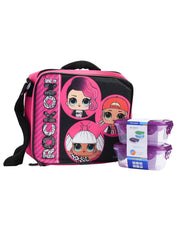 Girls LOL Surprise Pink Insulated Lunch Bag w/ Snack Food Container Set