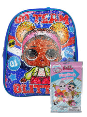 "Lol Suprise 12"" Small Backpack Reversible Sequin Blue w/ Grab-n-Go Play Pack"