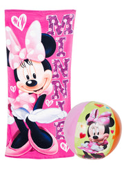 Girls Minnie Mouse Pink Pool Towel & Beach Ball 2Pc Set
