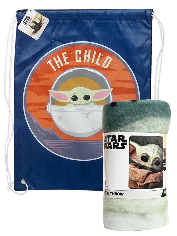 "Stars Wars Disney Baby Yoda Throw Blanket 45 x 60"" w/ 18"" Sling Bag The Child"