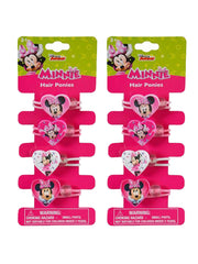 Minnie Mouse Girls Hearts Elastic Hair Ties Ponies 8-CT