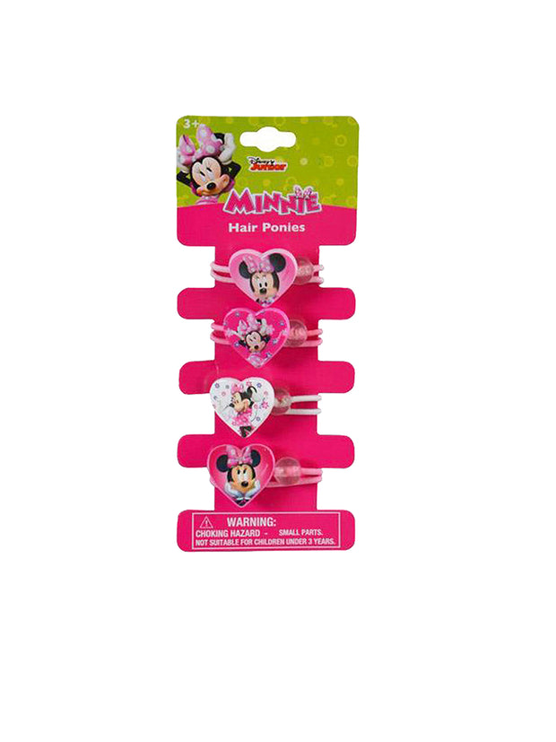 Minnie Mouse Girls Hearts Hair Ties Ponies 4-Pack