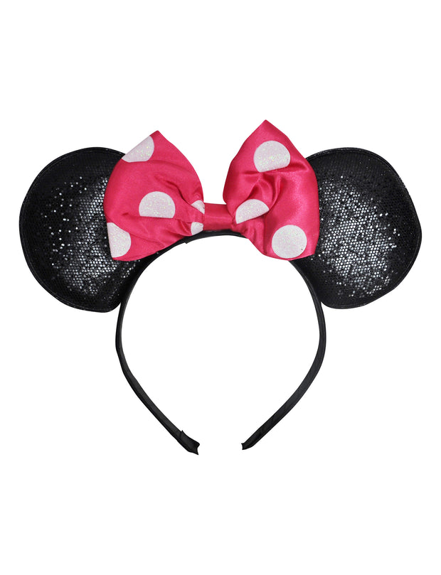 Minnie Mouse Girls Pink Headband with Ears & Bow