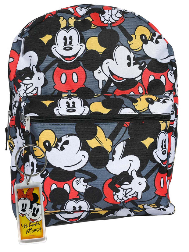 "Disney Mickey Mouse Gray All-Over Print 16"" Backpack w/ Mickey Minnie Keychain"