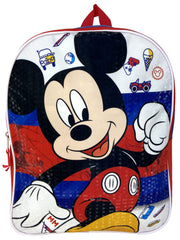 "Disney Mickey Mouse Backpack 15"" Blue w/ 12 oz Water Bottle Canteen Pop-up Lid"