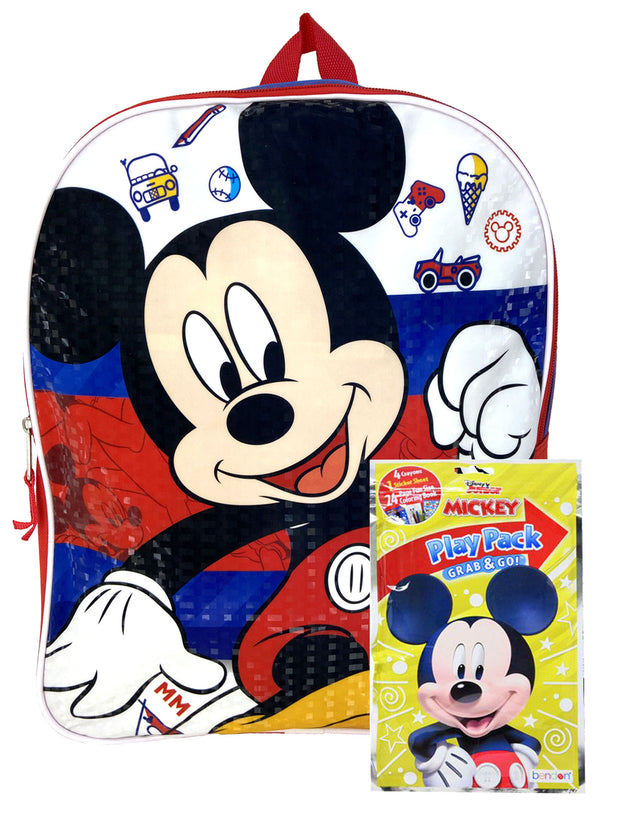 "Disney Boys Mickey Mouse 15"" Backpack Blue Fun Icons w/ Grab & Go Play Pack Set"