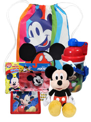 Disney Mickey Sling Bag w/ Face Cover Water Bottle Wallet Ears Plush Play Pack 7 PC