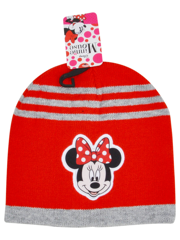 Girls Minnie Mouse Knit Beanie Hat Red