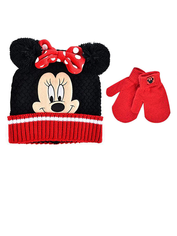 Girls Minnie Mouse Knit Beanie w/ Bow Ears & Mittens 2-Piece Set