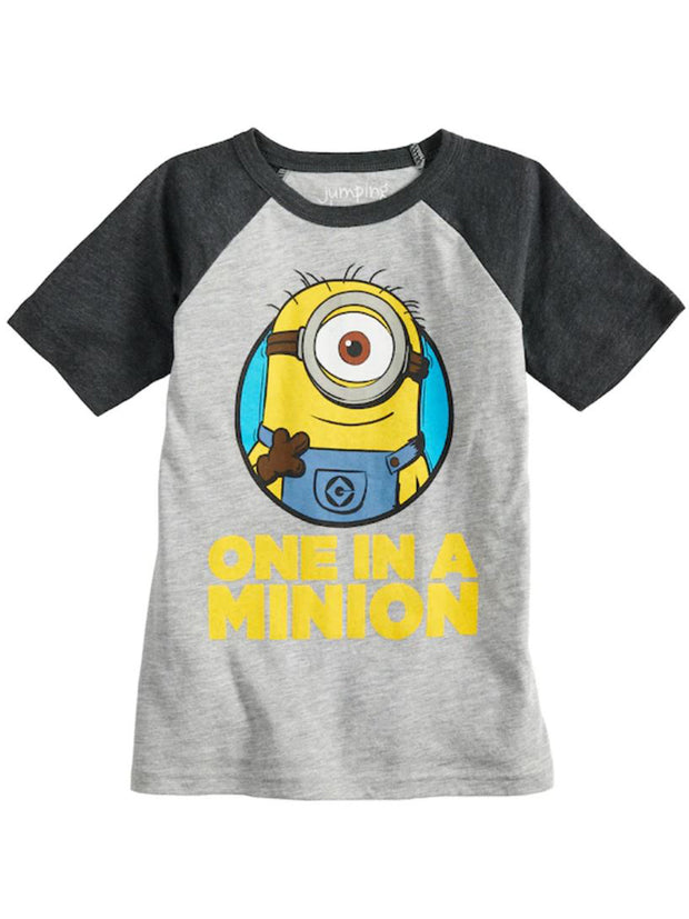 "Jumping Beans Boys Minions ""One In A Minion"" Raglan T-Shirt (Size 4)"
