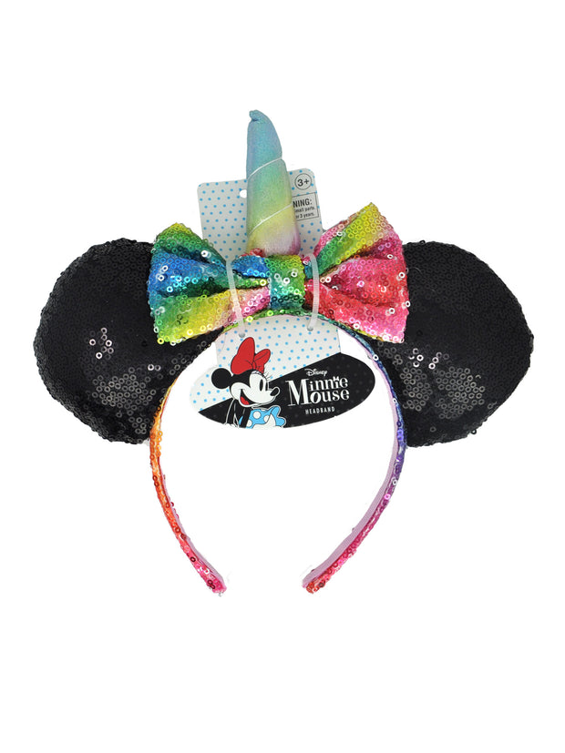 Disney Minnie Mouse Girls Rainbow Unicorn Horn Bow Sequins Headband Ears Cosplay