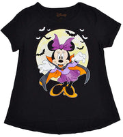Disney Girls Minnie Mouse Vampire Halloween T-Shirt Glitter Print