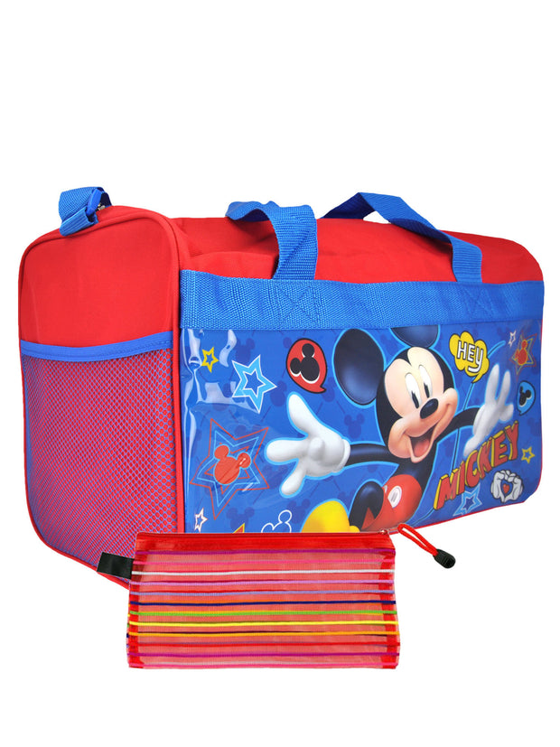 "Disney Mickey Mouse Carry On 17"" Duffel Bag w/ Mesh Travel Acessories Case"