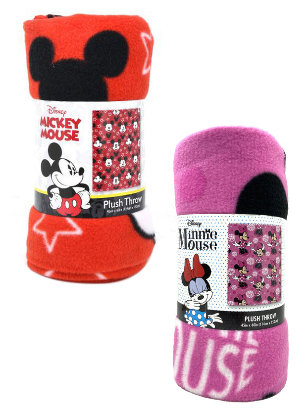 "Disney Mickey & Minnie Mouse 45"" x 60"" Throw Blankets All-Over Print 2-Pack Set"