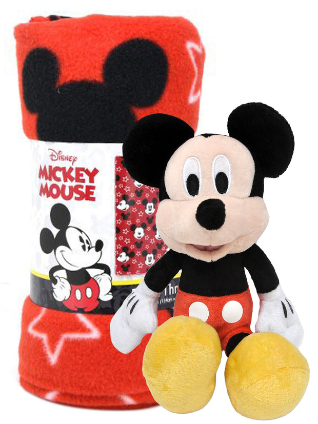 "Mickey Mouse All-Over Print 45"" x 60"" Throw Blanket w/ Mickey 11"" Plush Doll"