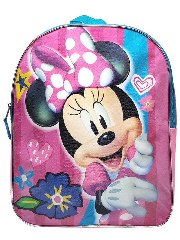 "Girls Minnie Mouse 15"" Backpack Pink Dress Bow Heart Flowers Striped"
