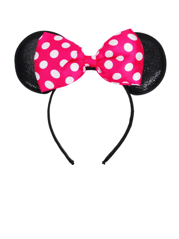 Girls Minnie Mouse Ears & Bow Headbands 2-PACK Pink & Red