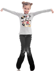 Disney Minnie & Mickey Mouse Christmas Girls Long Sleeve Shirt Gray (Size XL)
