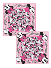 "Girls Kids Disney Minnie Mouse All-Over Print Bandanas 22x22"" Face Cover 2 Pack"