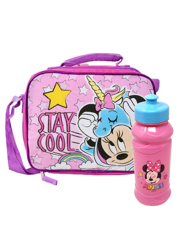 Girls Minnie Mouse Unicorn Insulated Lunch bag & 16oz Pull Top Water Bottle