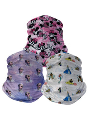 Girls Disney Neck Face Cover 3-Pack Gaiters  Minnie  Elsa Princesses Mulan