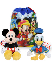 "Kids Disney 11"" Mickey & Donald Plush Doll w/ 14"" Mickey Racers Drawstring Bag"
