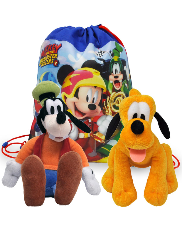 "Kids Disney 11"" Goofy & Pluto Dogs Plush Doll w/ 14"" Mickey Racer Sling Bag"
