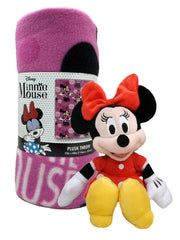 "Minnie Mouse Disney 45"" x 60"" Throw Blanket w/ Girls Red Minnie Dress 11"" Plush"