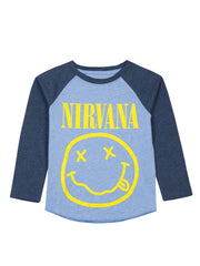 Toddler Nirvana Band Smiley Face T-Shirt Long Sleeve Raglan Blue