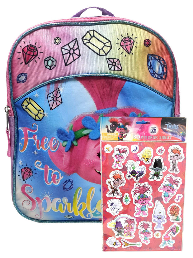 "Girls Trolls Mini 11"" Backpack Poppy Free to Sparkle w/ 3D Raised Sticker 22-CT"