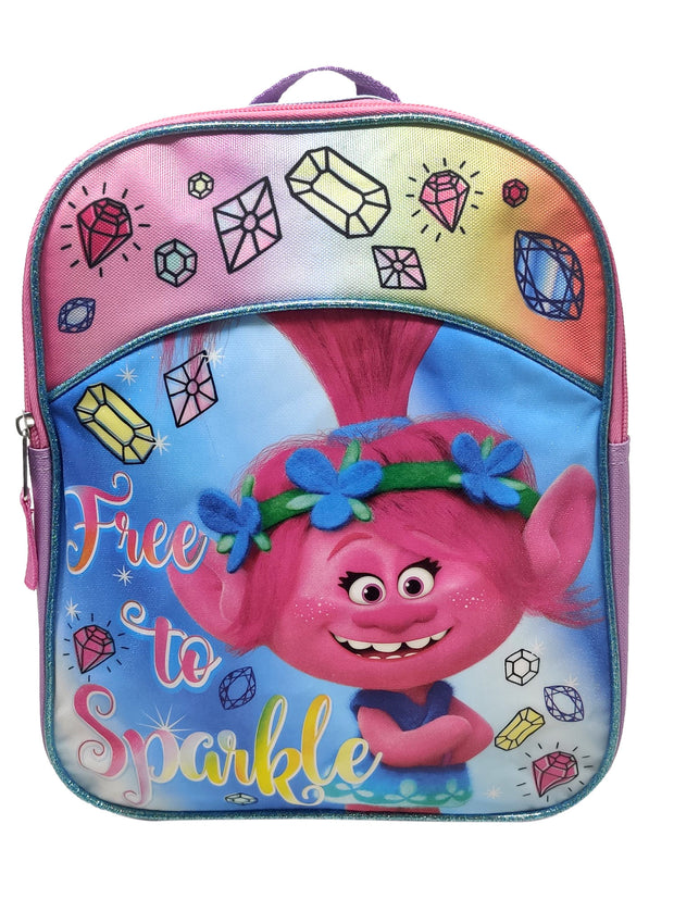 "Trolls Mini 11"" Backpack Poppy Glitter Diamond & Poppy Fuzzbert Adhesive Patch"