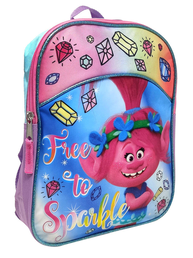 "Trolls 11"" Mini Backpack Poppy Free To Sparkle w/ 8PK Washable Markers Colormax"