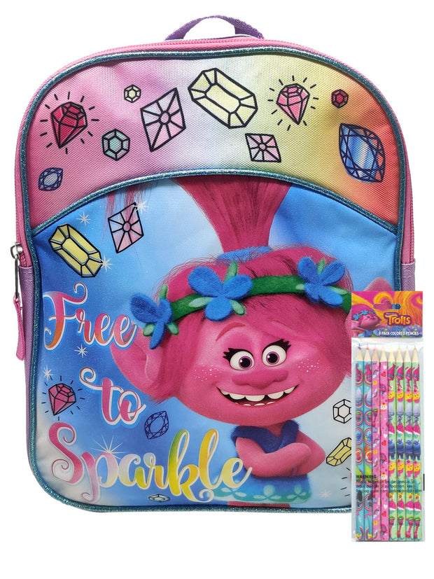 "Trolls Mini 11"" Backpack Poppy Free To Sparkle w/ Colored Wooden Pencils 8-Pack"