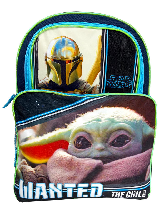 "Star Wars Baby Yoda Backpack 16"" Wanted Cargo w/ 3D Raised Stickers Mandalorian"