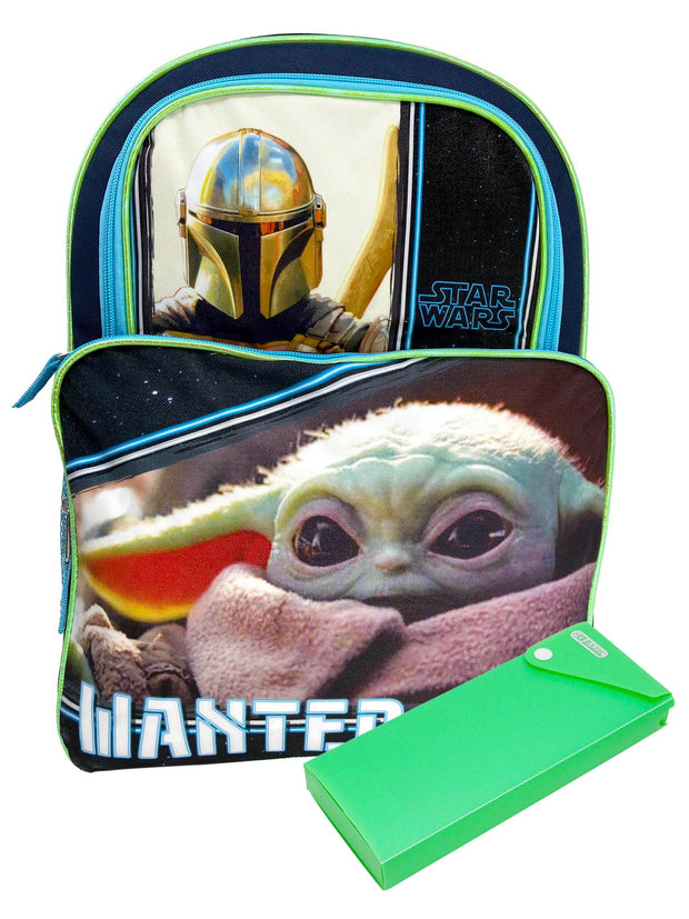 "Disney Star Wars Cargo Backpack 16"" Wanted Baby Yoda w/ Sliding Pencil Case Set"