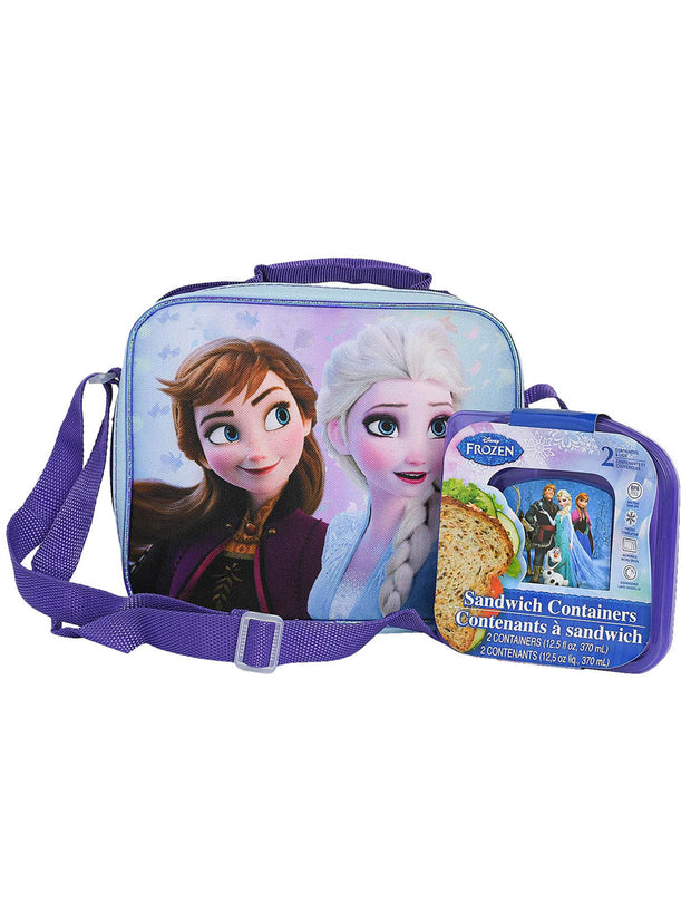 Disney Frozen 2 Insulated Lunch Bag w/ Shoulder Strap & 2-pc Sandwich Container