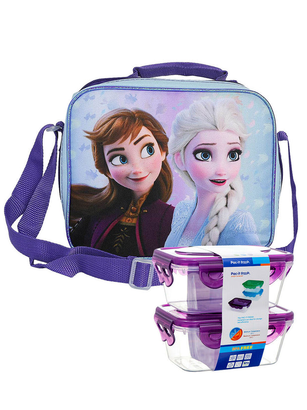 Frozen 2 Elsa and Anna Insulated Lunch Bag w/ 2 pc Snack Container Set