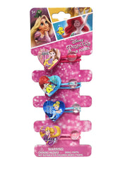 Disney Princesses Heart Shaped Hair Ties Ponies Ariel Belle Cinderella (8-Ct)
