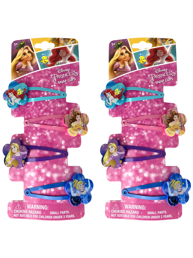 Disney Princesses Hair Snap Clips Ariel Belle Rapunzel Cinderella (8 Count)