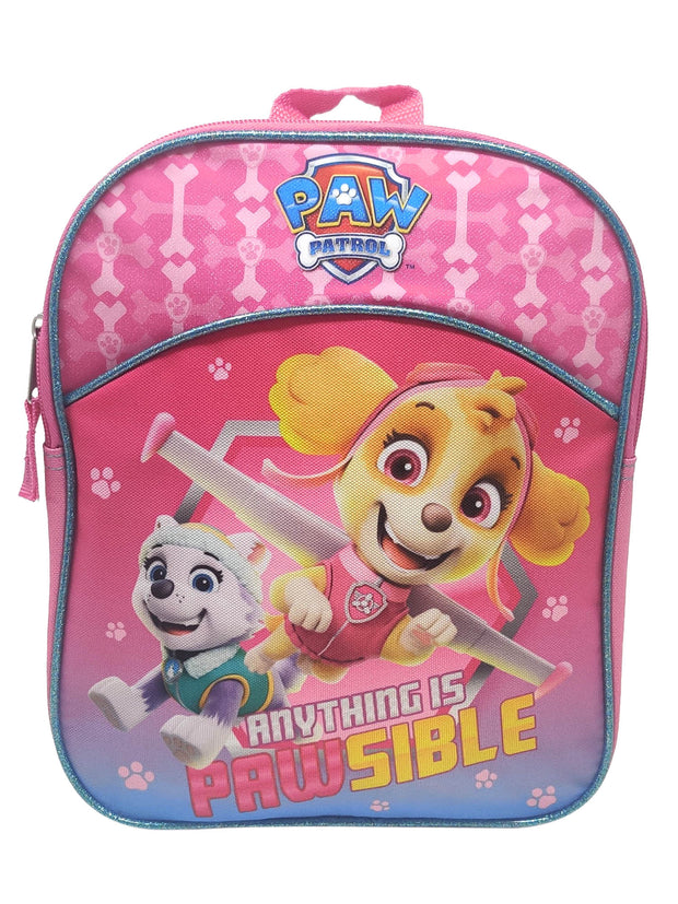 "Girls Paw Patrol Small 11"" Backpack Anything is Pawsible w/ 3-Ring Pencil Pouch"