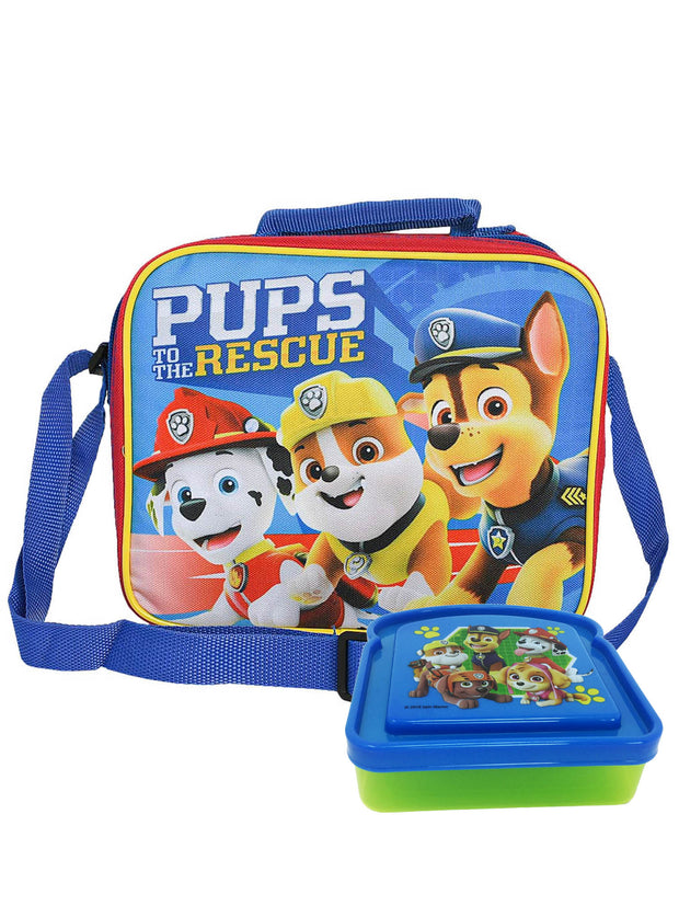 Boys Paw Patrol Insulated Lunch Bag w/ Shoulder Strap & Sandwich Container