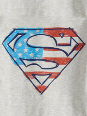 Jumping Beans Baby Boy Superman Logo DC Comics T-Shirt Beige USA Flag