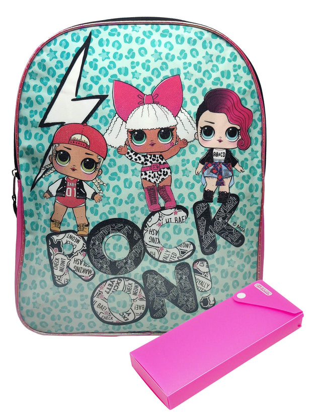 "LOL Surprise! Sparkle Backpack 16"" Rock On & Sliding Pencil Case"