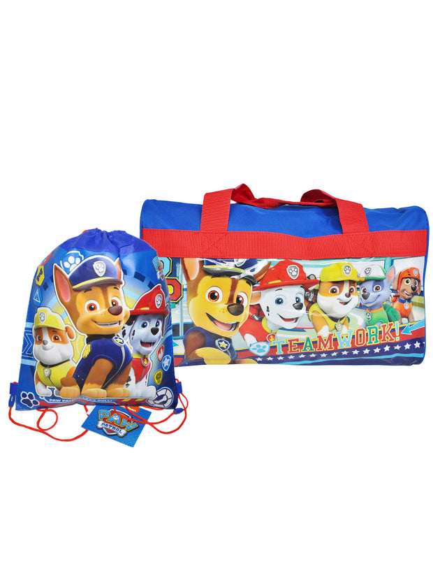 Boys Paw Patrol Duffel Bag and Sling Bag 2-Piece Kids Overnight Travel Set