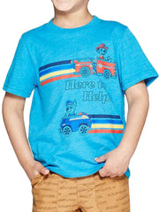 Toddler Boys Paw Patrol Chase Marshall Here To Help Graphic T-Shirt Blue